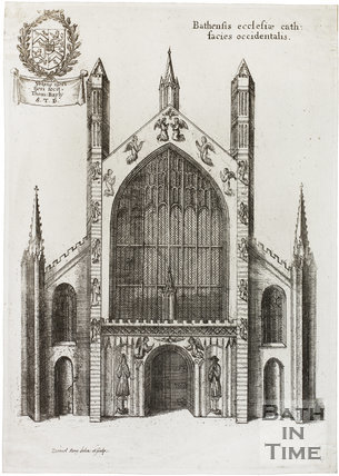 Bathensis ecclesiae cath: facies occidentals. Bath Abbey, Bath 1655