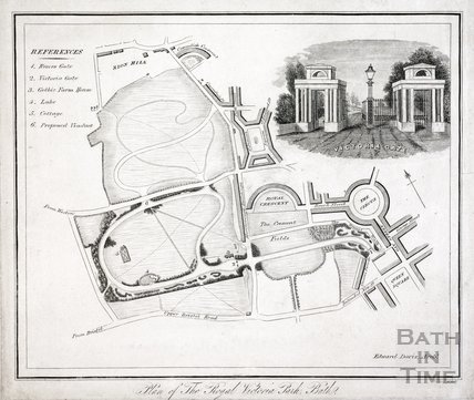 Plan of The Royal Victoria Park, Bath with detail of Victoria Gate 1837