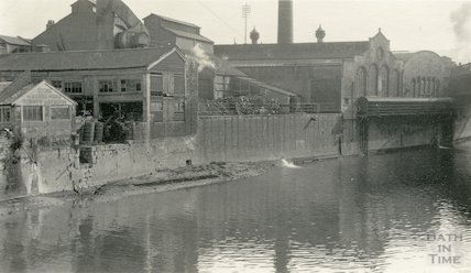 Bath Electric Light Works, view from the Avon, c.1920s