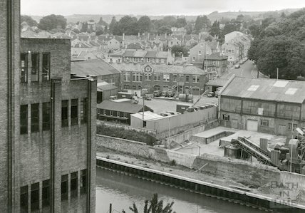 Bath Gas Works, offices from the retort house, June 1971