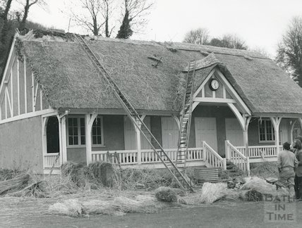 Rethatching of the Cricket Pavilion at Monkton Combe School, April 1975