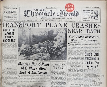 Transport plane crashes near Bath, Oct 21 1957