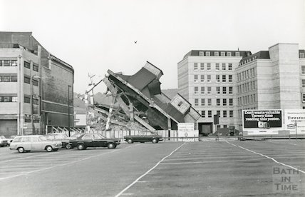 Baird's Maltings during demolition, Somerset Street, Bath, June 1974