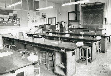 Hayesfield School, Bath - interior showing the chemistry lab, c.1992