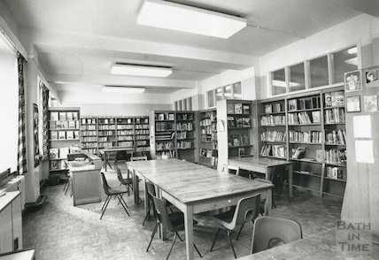 Hayesfield School, Bath - interior showing the library, c.1992