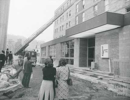 A mock fire rescue being carried out at the Beaufort Hotel, Walcot Street, Bath 1973