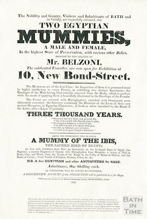 Exhibition of two Egyptian mummies, Bath, 1842