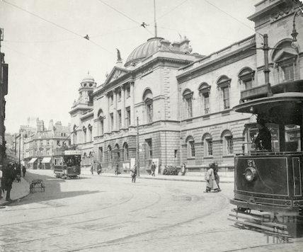 Guildhall, High Street facade showing electric trams, c.1914