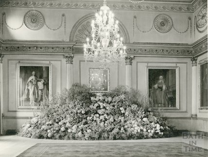 The Guildhall Banqueting Room with large floral display, c.1970s?