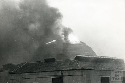 Guildhall Market fire in dome - evening of April 25th, 1972