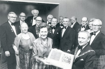 The Mayor of Bath, Mr Laurie Coombs, makes presentation to secretary, Miss Joan Bellingham, 1983