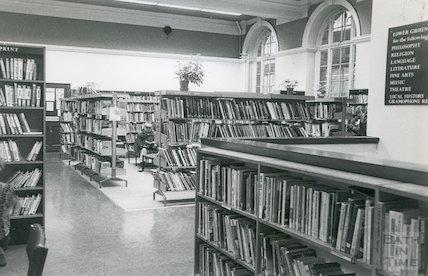 Lending Library, Bridge Street - enquiry desk March, 1990 prior move to Podium