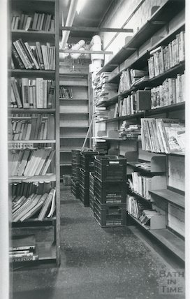 Lending Library, Bridge Street - lower floor storage area March, 1990 prior move to Podium