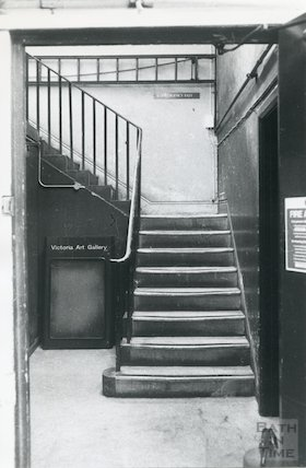 Lending Library, Bridge Street - side entrance basement stairs March, 1990 prior move to Podium