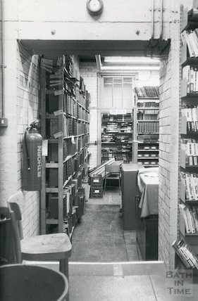 Lending Library, Bridge Street - 'machine room' storage area March, 1990 prior move to Podium