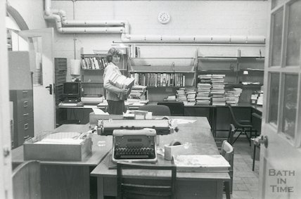 Lending Library, Bridge Street - work room March, 1990 prior move to Podium