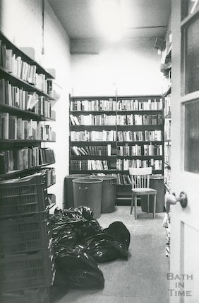 Lending Library, Bridge Street - basement storage area March, 1990 prior move to Podium