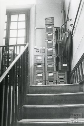 Lending Library, Bridge Street - back stairs,  March, 1990 prior move to Podium