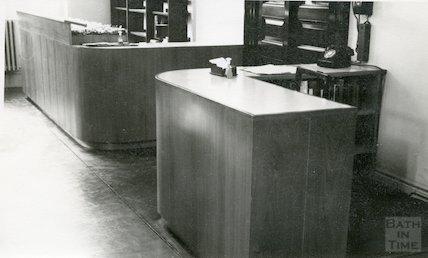 Bath Municipal Lending Library, Bridge Street, issue desk c.1960