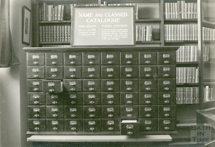 Municipal Library card index catalogue in lending department, Bridge Street, c.1954