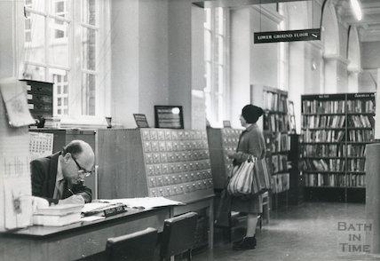 Bath Lending Library, Bridge Street interior ground floor February, 1974