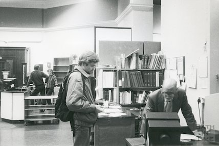 Bath Lending Library, Bridge Street - enquiry desk March, 1990 prior to move to podium