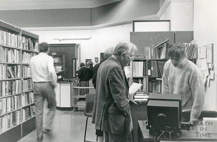 Bath Lending Library, Bridge Street - enquiry desk March, 1990 prior to move to podium