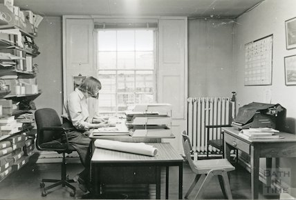 Reference Library, Queen Square - office and Mrs M. Joyce, March, 1990 prior to move to Podium