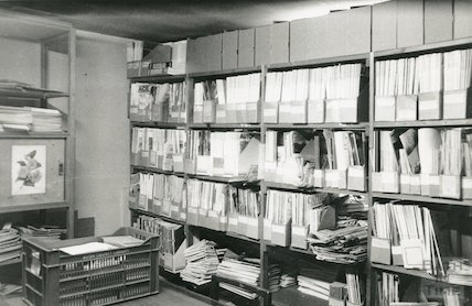Reference Library, Queen Square - newspaper store, top floor March, 1990 prior to move to Podium