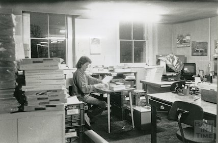 Reference Library, Queen Square - work room, top floor March, 1990 prior to move to Podium