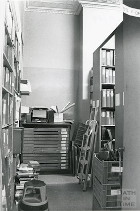 Reference Library, Queen Square - pamphlet boxes in closed access area March, 1990 prior to move to Podium