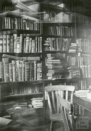 Bath Reference Library, Queen Square interior showing bookshelves, 1964