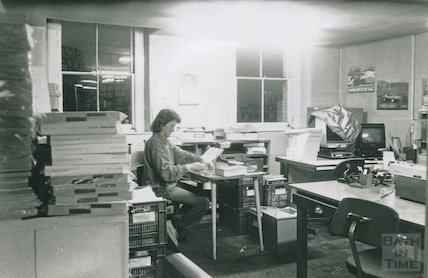 Book repairs - Sandra Davey in Bath Reference Library workroom, Queen Square December, 1989
