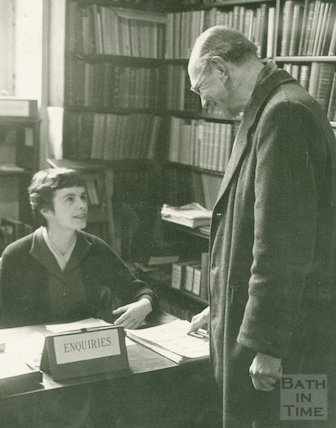 Bath Municipal Library providing assistance to readers, c.1950s