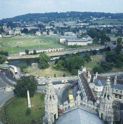 View from Bath Abbey of the Recreation Ground, c.1980s