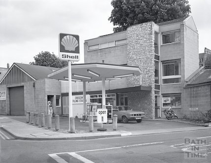 The Shell garage, Crescent Lane, Bath, c.1972