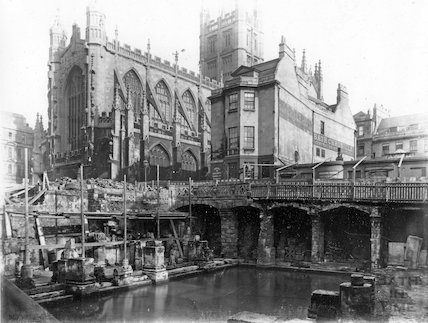 The eastern corner of the recently excavated Roman Great Bath and Kingston Bath c.1890