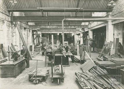 Inside a cabinet maker's works, Bath, 1928