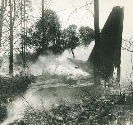 The devastating scene after the Hercules  air crash at RAF Colerne, 10 September 1973