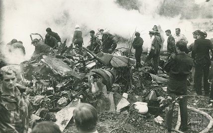 The devastating scene after the Hercules  air crash at RAF Colerne, 10 September 1973