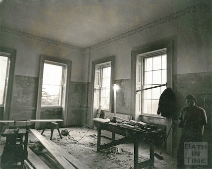 The restoration of the inside of No1 Royal Crescent, c.1970