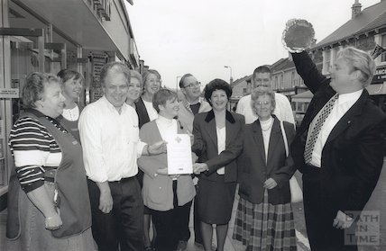 Moorland Road traders celebrate winning Britain in Bloom, 24 October 1995