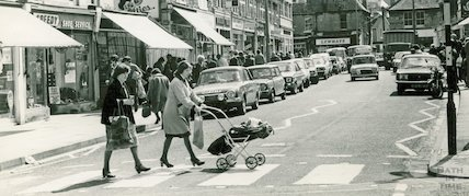 Local shops and shoppers at Moorland Road, Oldfield Park, 22 June 1981