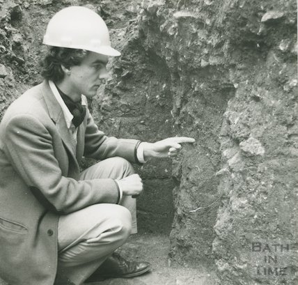 Tim O'Leary of the Bath Archaeological Trust at the dig on Orange Grove, November 1979