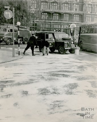 Firemen clean the road in Orange Grove following a chemical spill, c.1960s