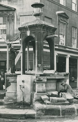 The mineral water fountain in Stall Street undergoing conservation, c.1960s