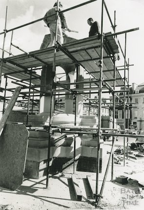 The resiting of the mineral water fountain at Terrace Walk, 25 April 1989