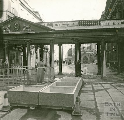 New concrete planters on the recently pedestrianised Stall Street, 15 February 1973
