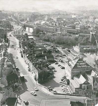 View of Widcombe, possibly from the spire of St Matthews Church, 3 May 1971