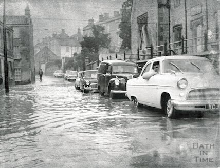 Flooding on Weston High Street, February 1964